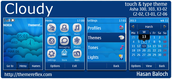 Cloudy Theme for Nokia Asha 300/303, X3-02, C2-02, C2-06, touch & type