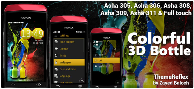 Colorful 3D Bottle theme for Nokia Asha 308, 309, 311 & Full touch