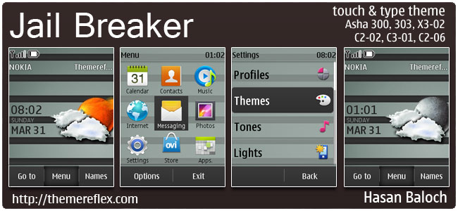 Jail Breaker Live Theme for Nokia Asha 300/303, X3-02, C2-02, C2-06, touch & type