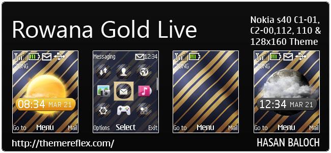 Rowana Gold Live Theme for Nokia C1-01, C2-00, 110, 112 & 128×160