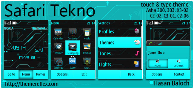 Safari Tekno Theme for Nokia Asha 300/303, X3-02, C2-02, c2-06, touch & type
