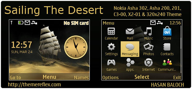Sailing The Desert Theme for Nokia C3-00, X2-01, Asha 200, 201, 302