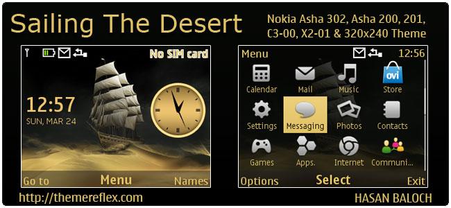 Sailing The Desert Theme for Nokia C3-00, X2-01, Asha 200, 201, 302