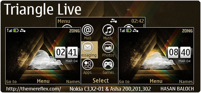 Triangle Live Theme for Nokia C3-00, X2-01, Asha 200,201,302