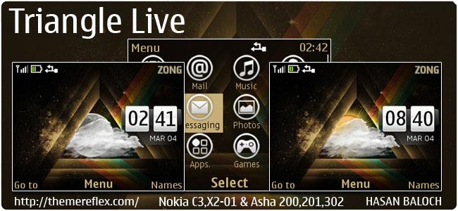Triangle Live Theme for Nokia C3-00, X2-01, Asha 200,201,302