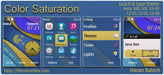 Color Saturation Live Theme for Nokia Asha 300/303, X3-02, C2-02, C2-06, touch & type