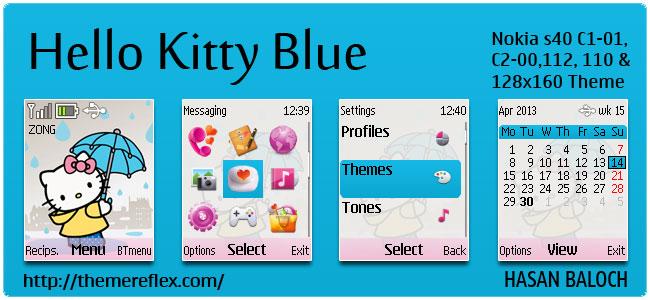 Hello Kitty Blue Theme for Nokia C1-01, C2-00, 110, 112 & 128×160