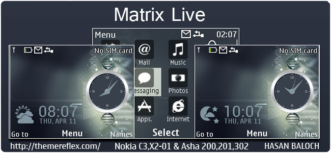 Matrix Live Theme for Nokia C3-00, X2-01, Asha 200,201,302