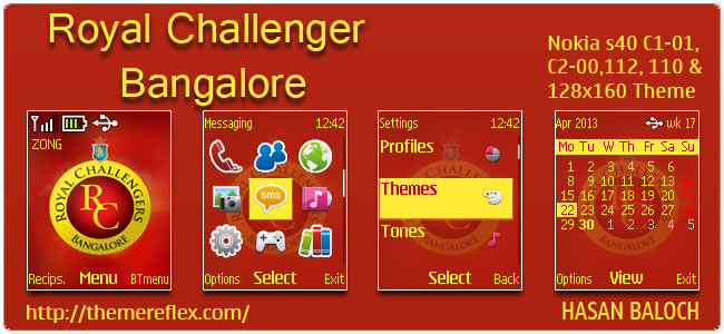 Requested Theme: Royal Challengers Bangalore Theme for Nokia C1-01, C2-00, 110, 112 & 128×160