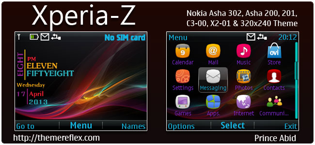 Xperia-Z Theme for Nokia C3-00, X2-01, Asha 200,201,302