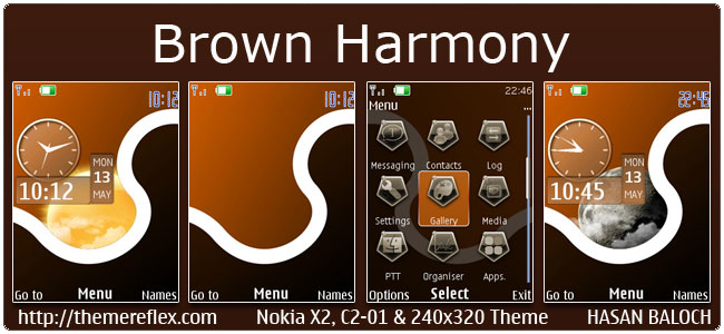 Brown Harmony Theme for Nokia X2-00, C2-01, 2700, 6303i, X2-05, 206 & 240×320