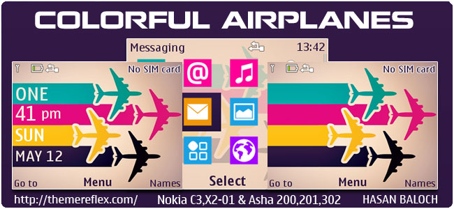 Colorful Airplanes Theme for Nokia C3-00, X2-01, 205, Asha 200,201,302