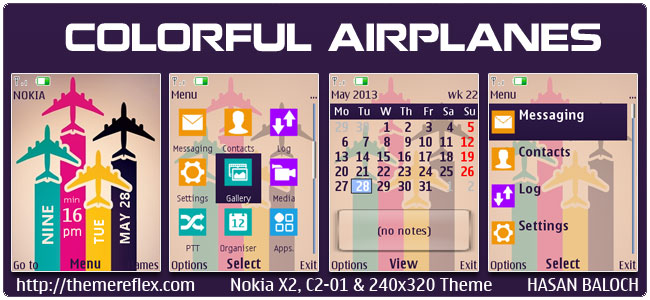 Colorful Airplanes Theme for Nokia X2-00, C2-01, X2-05, 206, 2700, 6303i & 240×320 (Updated)