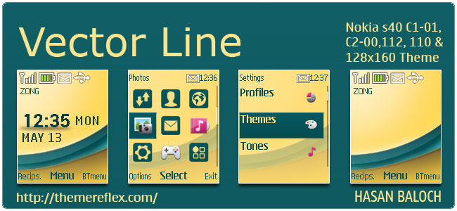 Vector Line Theme for Nokia C1-01, C2-00, 110, 112, 2690 & 128×160