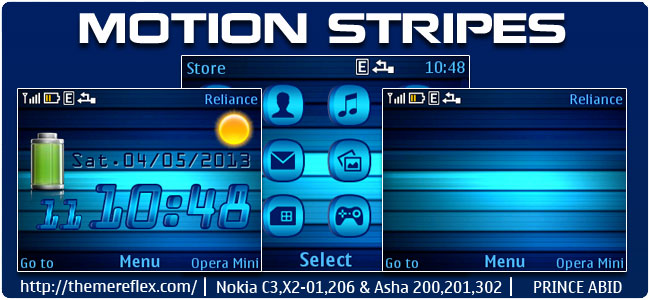 Motion Stripes Live Theme for Nokia C3-00, X2-01, 205, Asha 200,201,302