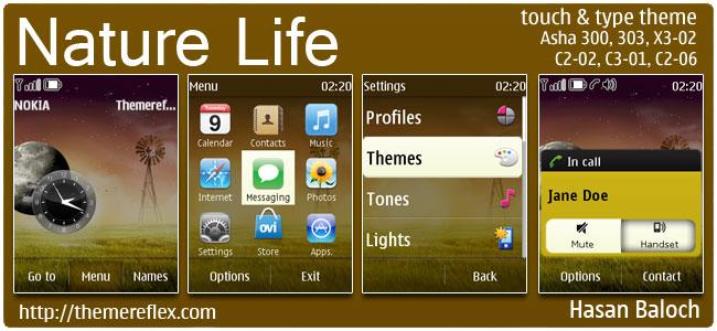 Nature Life v2 Theme for Nokia Asha 300/303, X3-02, C2-02, C2-06, touch & type