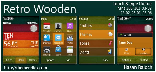 Retro Wooden Live Theme for Nokia Asha 300/303, X3-02, C2-02, C2-06, touch & type