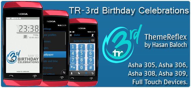 TR- 3rd Anniversary Celebrations Theme for Nokia Asha 305, Asha 306, Asha 308, Asha 309, Asha 310, Asha 311