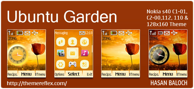 Ubuntu Garden Live Theme for Nokia C1-01, C2-00, 2690, 110, 112 & 128×160