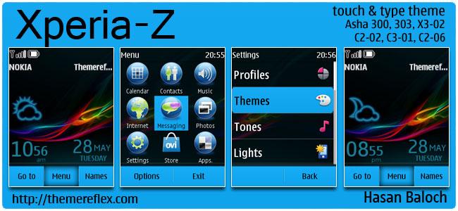 Xperia-Z Live Theme for Nokia Asha 300/303, X3-02, C2-02, C2-03, C2-06, touch & type