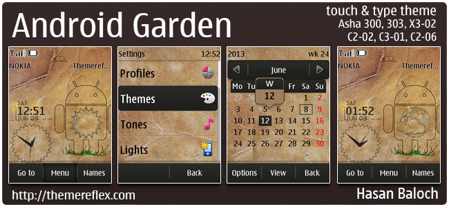 Android Garden Live Theme for Nokia Asha 300/303, C2-02, C2-03, C2-06, X3-02, touch & type