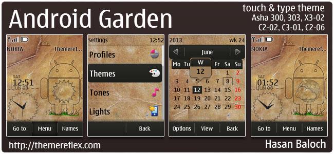 Android Garden Live Theme for Nokia Asha 300/303, C2-02, C2-03, C2-06, X3-02, touch & type