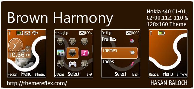 Brown Harmony Live Theme for Nokia C1-01, C2-00, 110, 112 & 128×160