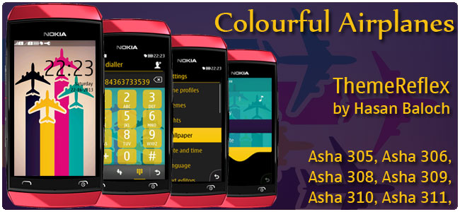 Colorful Airplanes Theme for Nokia Asha 305, Asha 306, Asha 308, Asha 309, Asha 310, Asha 311