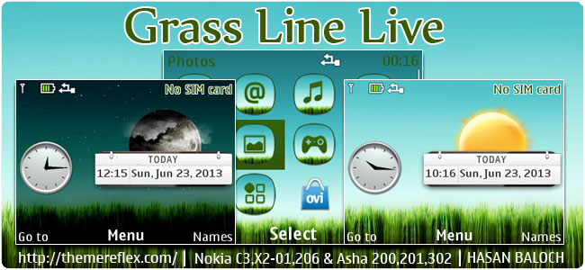 Grass Line Live Theme for Nokia C3-00, X2-01, 205, Asha 200, 201, 302