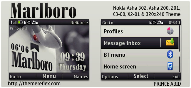 Marlboro Theme for Nokia C3-00, X2-01, Asha 200,201,205,302 & 320×240