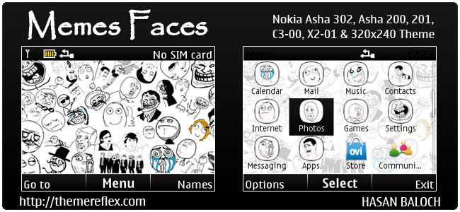 Requested Theme: Memes faces Theme for Nokia C3-00, X2-01, 205, Asha 200,201,302