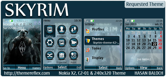 Requested Theme: SKYRIM Theme for Nokia X2-00, C2-01, 206, X2-05, X3-00, 2700, 6303i & 240×320