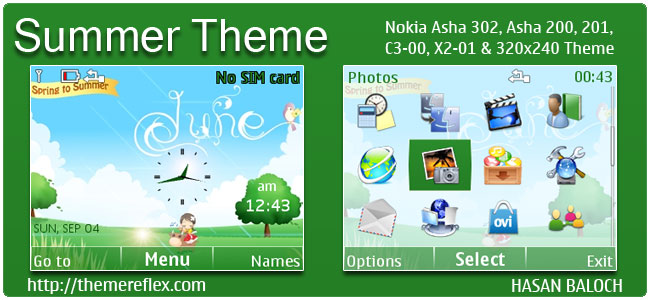 Summer Theme for Nokia C3-00, X2-01, 205, Asha 200,201,302