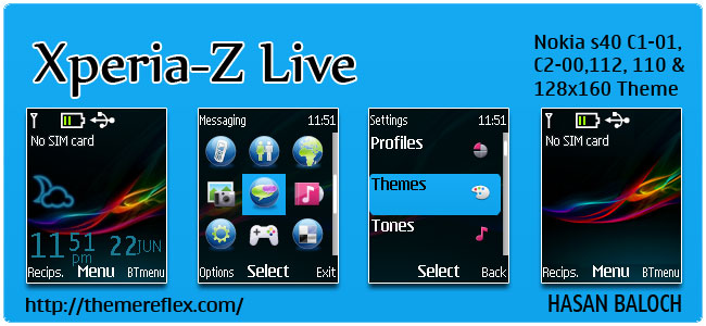 Xperia-Z Live theme for Nokia C1-01, C2-00, 110, 112, 2690 & 128×160