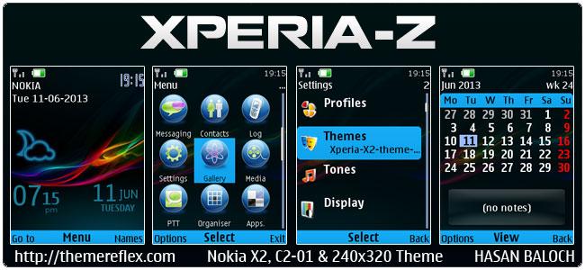 Xperia-Z Live theme for Nokia X2-00, C2-01, X2-05, 2700, 6303i, 206 & 240×320