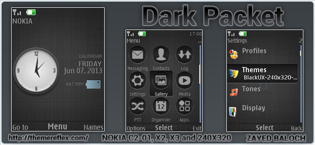 Dark Pocket theme for Nokia X2-00, X3, C2-01 and 240×320 devices