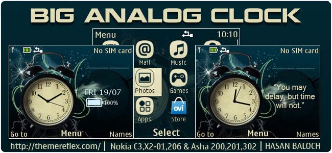 Big Analog Clock Theme for Nokia C3-00, X2-01, 205, Asha 200, 201, 302