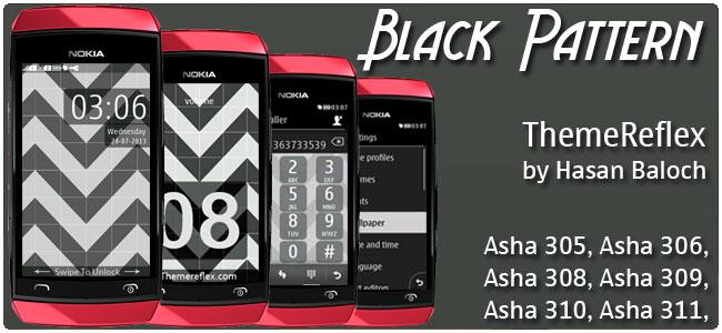 Black Pattern Theme for Nokia Asha 305, Asha 306, Asha 308, Asha 309, Asha 310, Asha 311