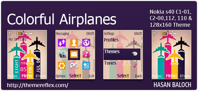Colorful Airplanes Theme for Nokia C1-01, C2-00, 110, 112, 2690 & 128×160
