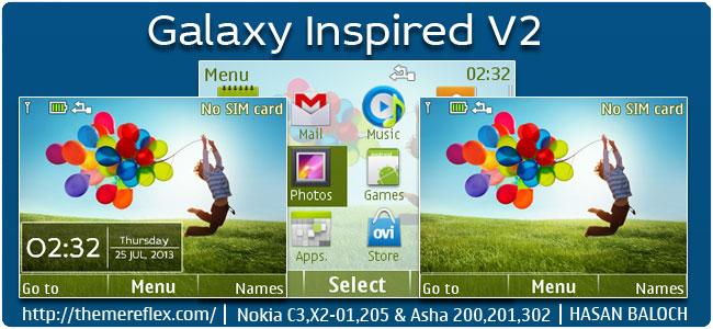 Galaxy Inspired V2 Theme for Nokia C3-00, X2-01, 205, Asha 200,201,302
