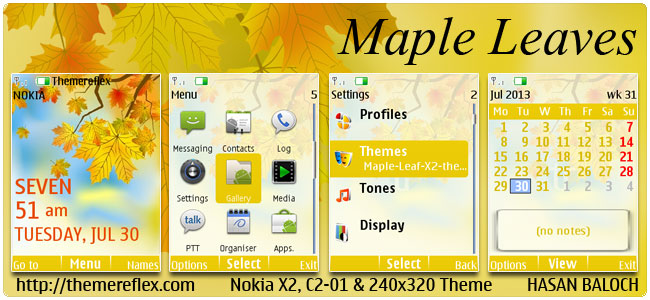 Maple Leaves Theme for Nokia X2-00, C2-01, 206, X3-00, X2-05, 2700 & 240×320 (Updated)