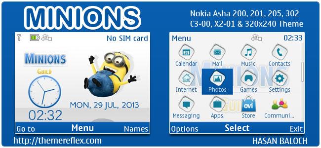 Minions Theme for Nokia C3-00, X2-01, 205, Asha 200,201,302