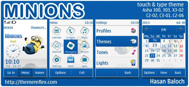 Minions Theme for Nokia Asha 300/303, X3-02, C2-02, C2-03, C2-06, touch & type