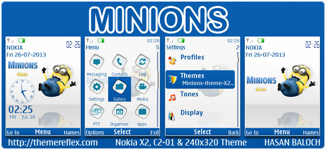 Minions Theme for Nokia X2-00, C2-01, X3-00, X2-05, 2700, 6303i & 240×320