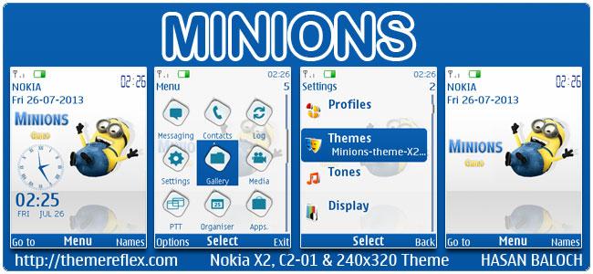 Minions Theme for Nokia X2-00, C2-01, X3-00, X2-05, 2700, 6303i & 240×320
