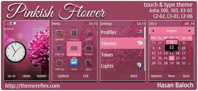Pinkish Flower Theme for Nokia Asha 300/303, X3-02, C2-02, C2-03, C2-06, touch & type