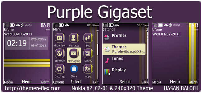 Purple Gigaset Theme for Nokia X2-00, C2-01, 206, X3-00, X2-05, 2700 & 240×320