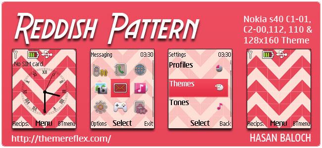 Reddish Pattern Theme for Nokia C1-01, C2-00, 110, 112, 2690 & 128×160