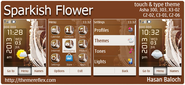 Sparkish Flower Live Theme for Nokia Asha 300/303, X3-02, C2-02, C2-03, C2-06, touch & type