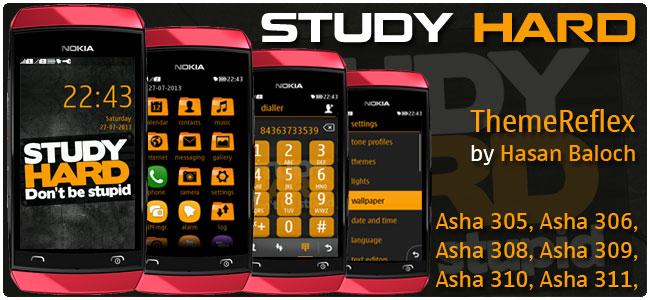 STUDY HARD Theme for Nokia Asha 305, Asha 306, Asha 308, Asha 309, Asha 310, Asha 311